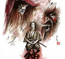 Samurai ronin zen meditation deamons of mind martial arts sumi-e original ink painting artwork by Mariusz Szmerdt