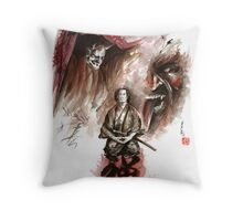 Samurai ronin zen meditation deamons of mind martial arts sumi-e original ink painting artwork Throw Pillow