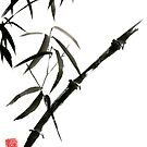 Bamboo japanese chinese sumi-e suibokuga tree watercolor original ink painting by Mariusz Szmerdt