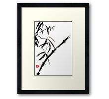 Bamboo japanese chinese sumi-e suibokuga tree watercolor original ink painting Framed Print