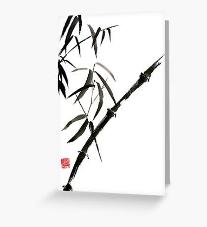 Bamboo japanese chinese sumi-e suibokuga tree watercolor original ink painting Greeting Card