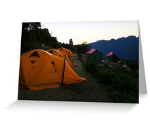 Inca Trail - Cliff side camp Greeting Card