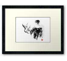 Geisha Japanese woman in kimono cherry blossom original Japan painting art Framed Print