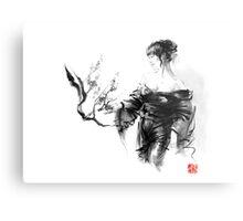 Geisha Japanese woman in kimono cherry blossom original Japan painting art Metal Print