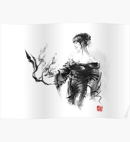 Geisha Japanese woman in kimono cherry blossom original Japan painting art Poster