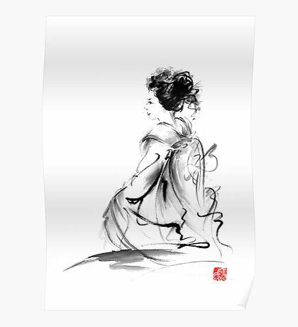 Geisha Japanese woman in Tokyo kimono original Japan painting art Poster