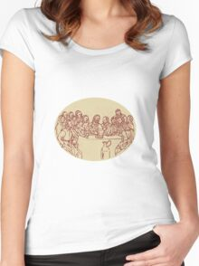 Last Supper Jesus Apostles Drawing Women's Fitted Scoop T-Shirt