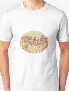 Last Supper Jesus Apostles Drawing T-Shirt