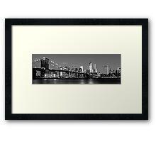 Brooklyn Bridge - B&W 2 -  3x1 Framed Print