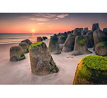 Tetrapods at sunset (Hörnum/Sylt) Photographic Print