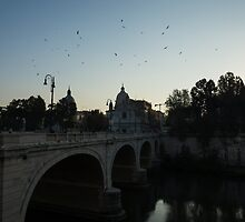 Morning in Rome - Cavour Bridge and Seagulls in Flight  by Georgia Mizuleva