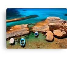 Natural rocky harbor in Milos island Canvas Print