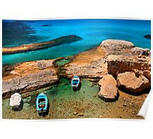 Natural rocky harbor in Milos island Poster