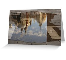 """Acqua Alta or """"High Water"""" Reflects St Mark's Cathedral in Venice Greeting Card"""