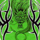 Tribal Dragon Green by Tim Miklos