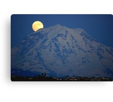 MOON OVER MT. RAINIER IN WASHINGTON STATE Canvas Print