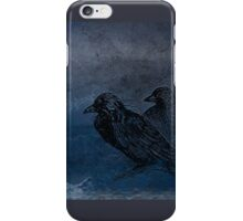 Two little crows blue sky dark night iPhone Case/Skin