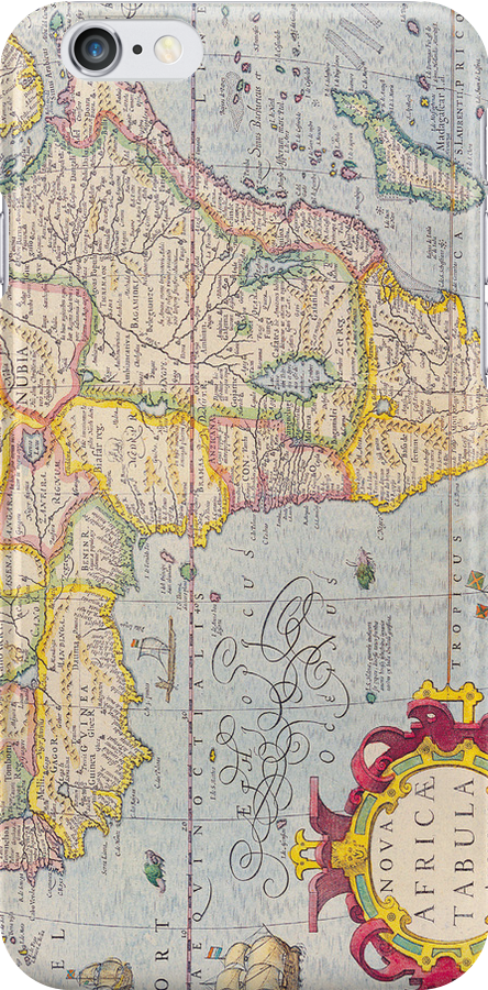 Vintage Antique Map of Africa Circa 1610 by pjwuebker