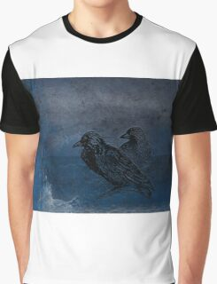 Two little crows blue sky dark night Graphic T-Shirt