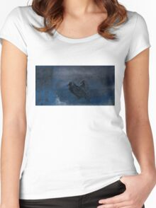 Two little crows blue sky dark night Women's Fitted Scoop T-Shirt