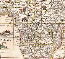 Vintage 17th Century Map of Africa by pjwuebker