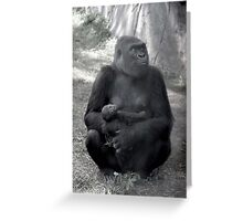 Gorilla Mother with Baby Greeting Card Greeting Card