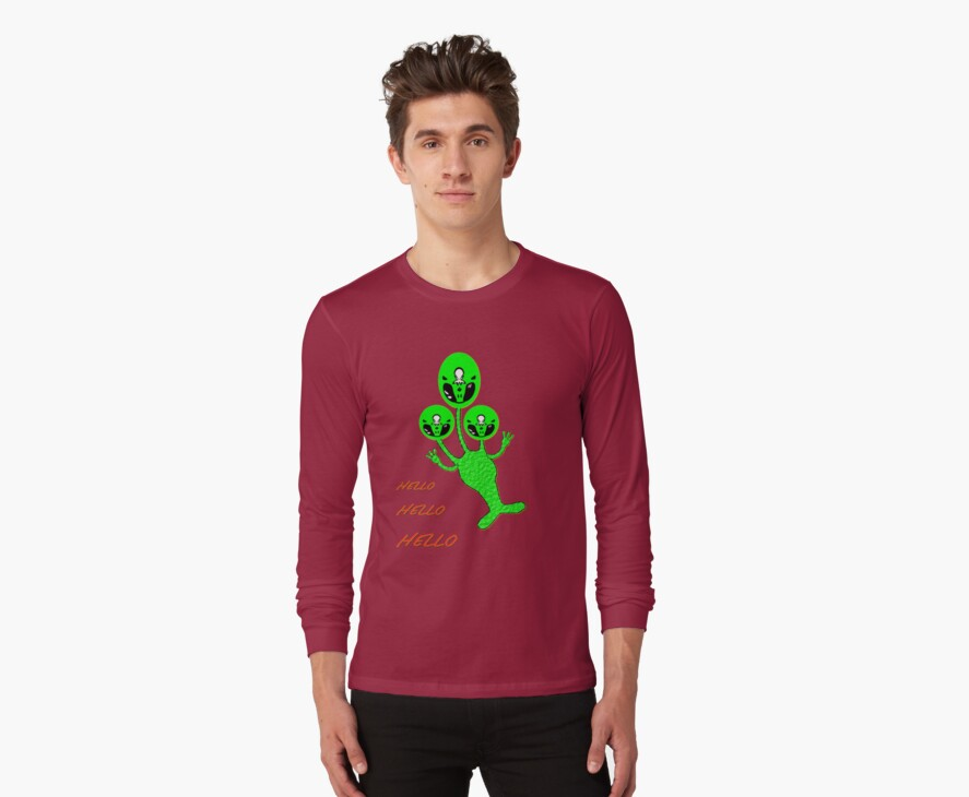 A TriAlien's Hello, Hello, Hello T-shirt by Dennis Melling