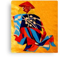 japanese men in traditional clothes Canvas Print