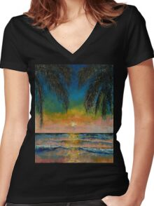 Tropical Sunset Women's Fitted V-Neck T-Shirt