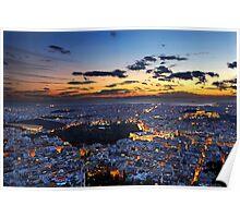 Athens around sunset Poster
