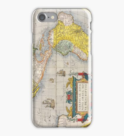 Antique Map of Western Hemisphere Circa 1579 iPhone Case/Skin