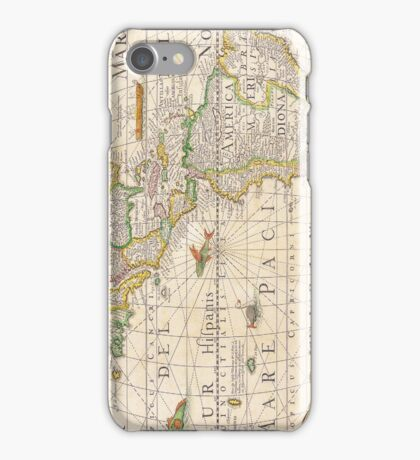 Antique Map of the Americas Circa 1652 iPhone Case/Skin