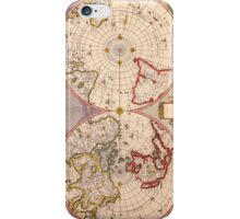 Antique Map of North and South Hemispheres Circa 1695 iPhone Case/Skin