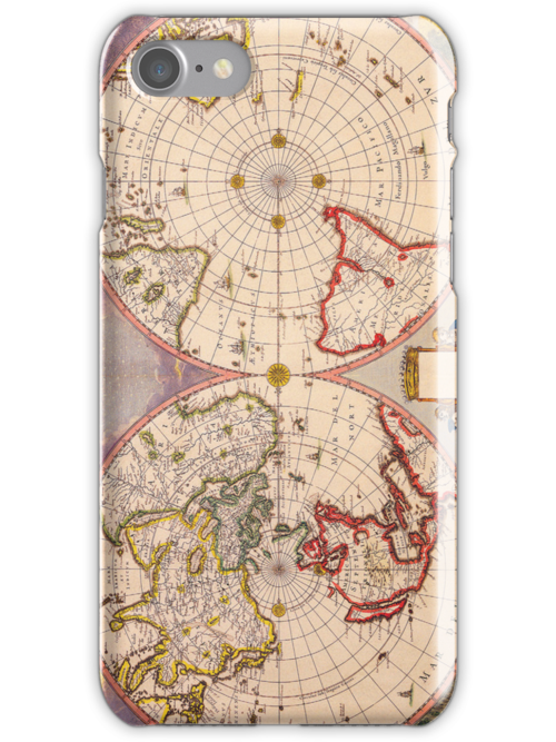 Antique Map of North and South Hemispheres Circa 1695 by pjwuebker