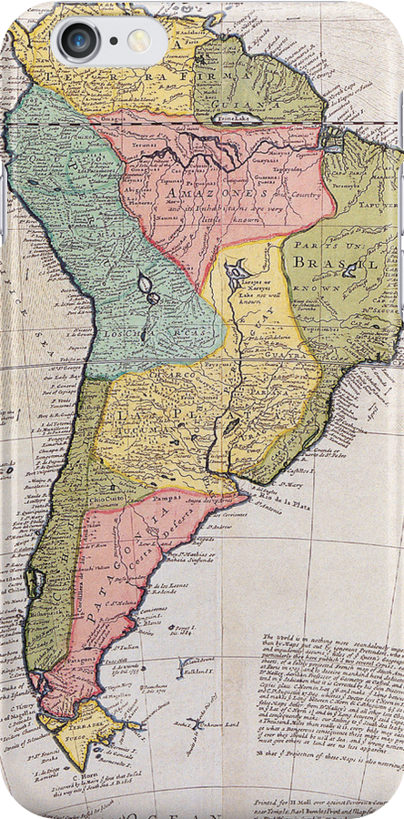17th Centruy English Antique Map of South America by pjwuebker