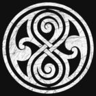 Seal of Rassilon - Classic Doctor Who - White on Black (Distressed) by James Ferguson - Darkinc1