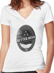 BUTTERBEER - Hogsmede Brew Black Label  Women's Fitted V-Neck T-Shirt