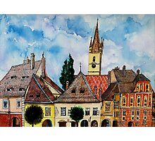 Evangelical Church Tower from Sibiu Transylvania Photographic Print