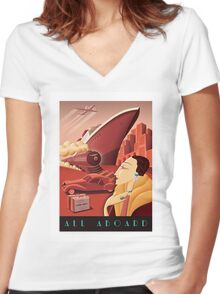 All Aboard Women's Fitted V-Neck T-Shirt