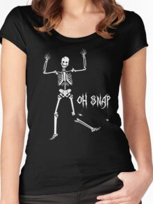 Oh Snap, Funny Skeleton Halloween Women's Fitted Scoop T-Shirt