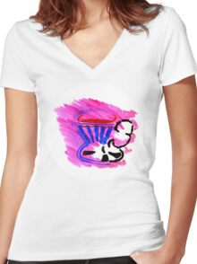 tea in a cup Women's Fitted V-Neck T-Shirt
