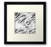 Simple Rustic White Painted Brushstrokes on Black Framed Print