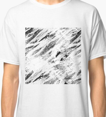 Simple Rustic White Painted Brushstrokes on Black Classic T-Shirt