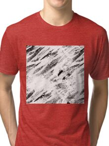 Simple Rustic White Painted Brushstrokes on Black Tri-blend T-Shirt