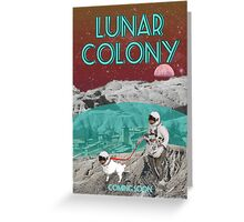 Lunar Colony Astronaut With Dog Greeting Card