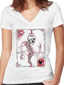 King of Hearts / Suicide King Women's Fitted V-Neck T-Shirt