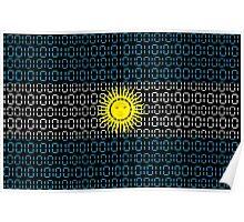 digital Flag Argentina Poster