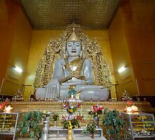 sitting Buddha made from one single marble block, KYAUKTAWGYI PAGODA by travel4pictures