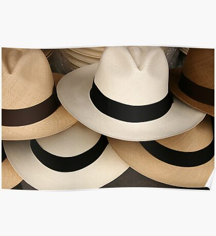 Stacked Panama Hats Poster