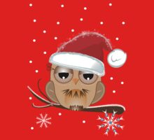 Cute Owl with Santa hat Tee Kids Clothes